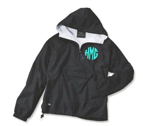 Monogram Wind Breaker Pullover Rain Jacket by SweetPeas955 on Etsy