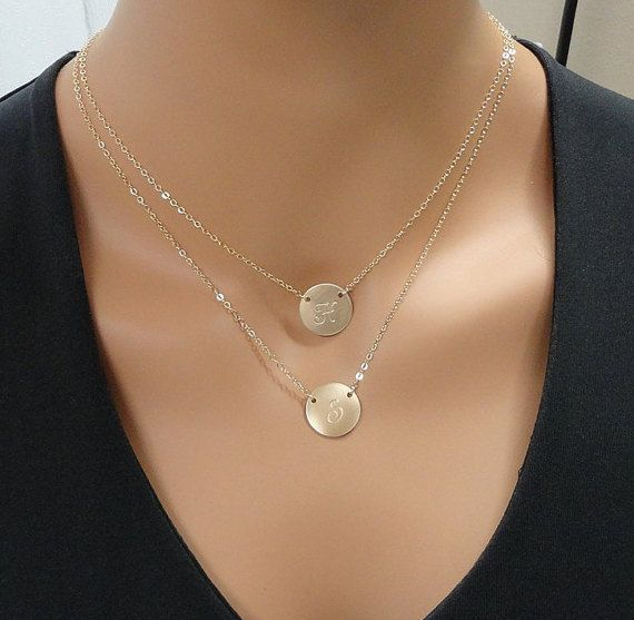 Layered Initial Necklace 14k Gold filled Double by SivadoStudio