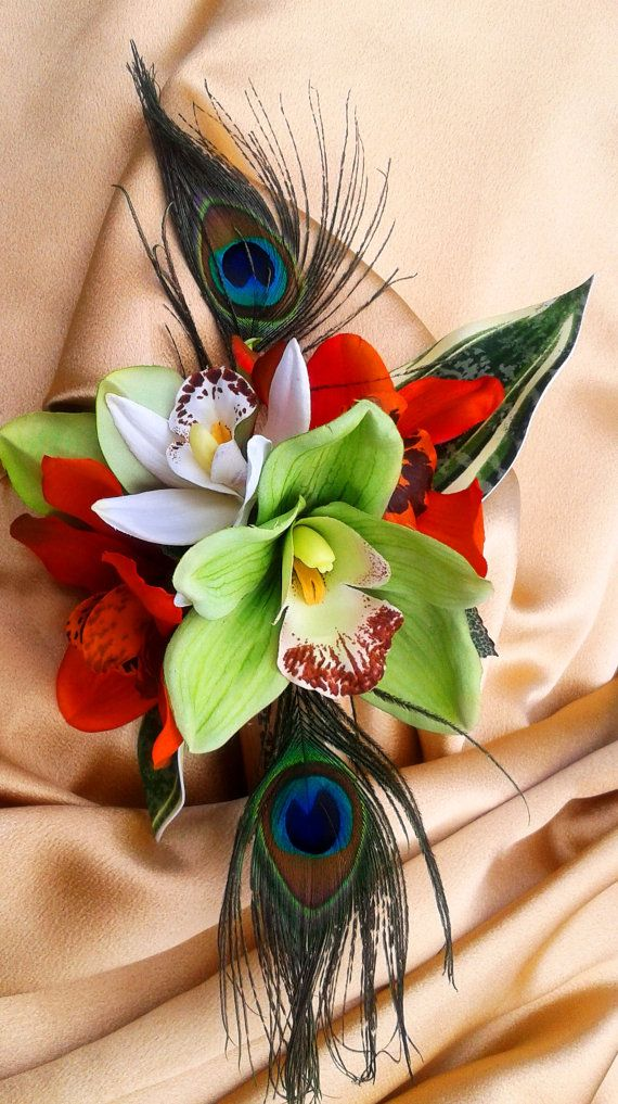 TROPICAL HAIR CLIP - Flower Headpiece - Bridal/Wedding Hairpiece, Tropical Hair claw, Orchids and Peacock Feather - Exotic Hair Accessory on Etsy, $49.99