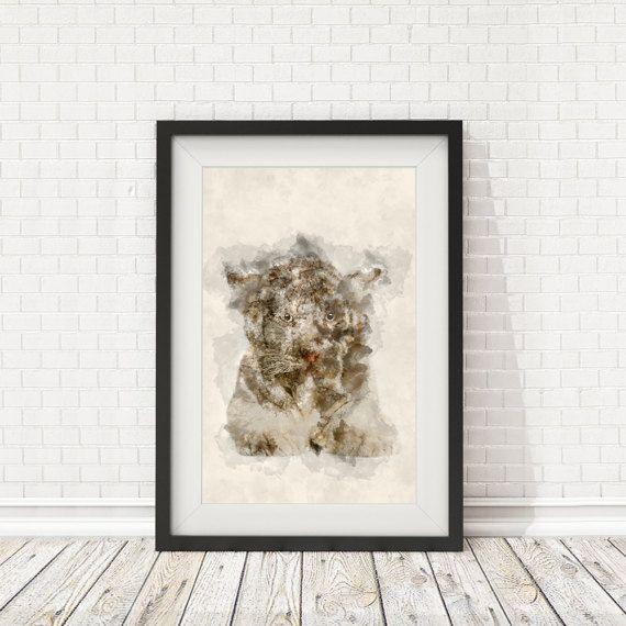 White tiger poster Watercolor white tiger by BatLabPrintables