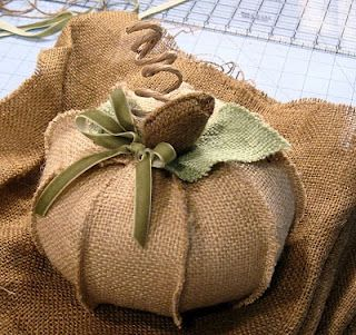 Burlap Pumpkin-No pattern or tutorial (etsy shop item), but I think they look pretty doable to make myself.
