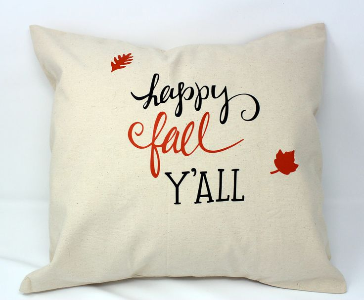 Happy Fall Y'all pillow, fall pillow, holiday pillow, cute fall pillows, autumn leaves, decor pillows, throw pillows, couch  pillows, cute by KittyandSpunky on Etsy
