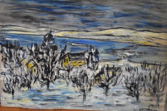 Abstract landscape winter scene large oil painting oil on