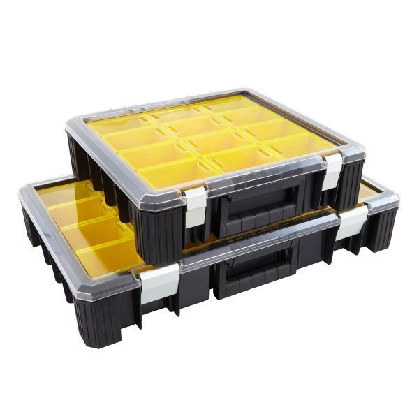 Deep Professional Organisers Removable parts and components storage boxes in a high-density plastic carry-case.  The simple and practical way to organise and carry larger-sized parts and components.