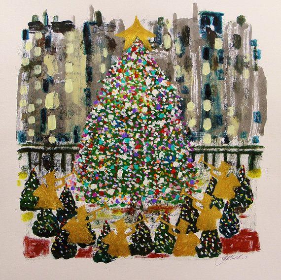 Rockefeller Center Original CHRISTMAS John Williams art JMW Portfolio Bold Colorful Expressionism on Etsy, $360.00