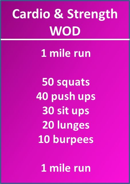 This is a really rough workout, totally worth it though, and will test your mental strength to get through it all. Cardio and Strength WOD