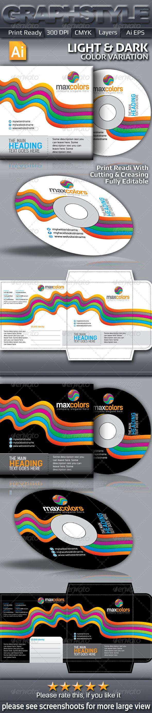 Maxcolors CD Sleeve & Sticke - #CD & DVD #Artwork Print #Templates Download here: https://graphicriver.net/item/maxcolors-cd-sleeve-sticke/5662172?ref=alena994