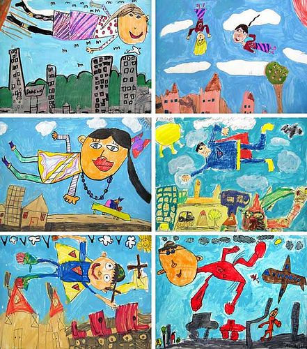 1st Grade Chagall Studies | Here are a few more examples fro… | Flickr