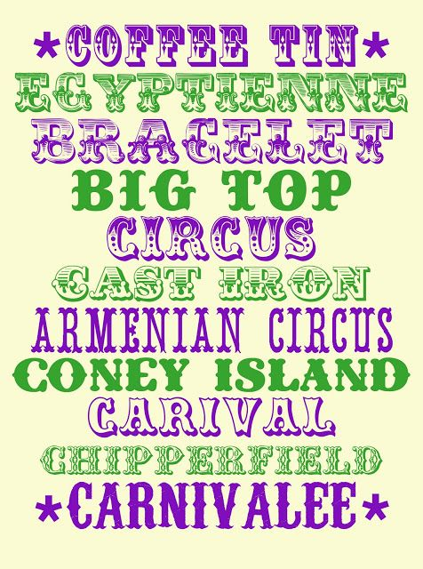 GARUFF: MORE CIRCUS FONTS.  ~~ {11 Free fonts w/ links}