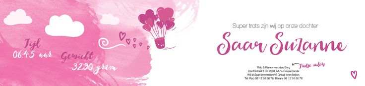 Collectie 2   Gaafkaartje   Unieke geboortekaartjes   Illustratie   children Illustration   meisje   roze   luchtballon   harten