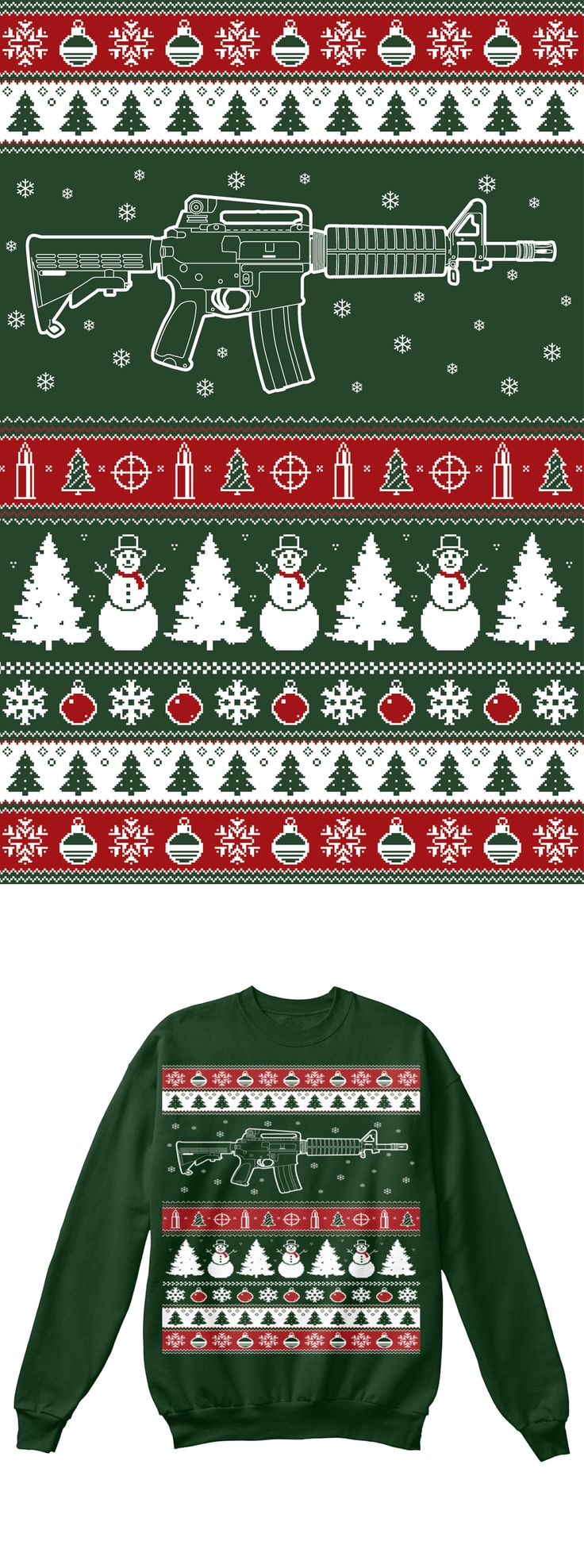 AR15 Christmas Sweatshirt.  Printed on an actual sweater, not a long sleeve shirt this will become your favorite Christmas Sweater!  Click on image to order, comes in two different colors.