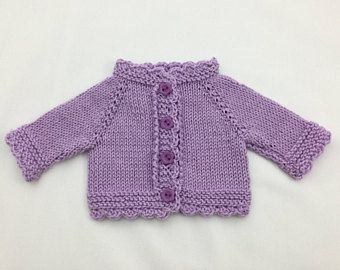 "Waldorf Doll cardigan in lilac cotton (fits 14"" doll) - doll sweater - dolls clothes - 14 inch doll clothes."