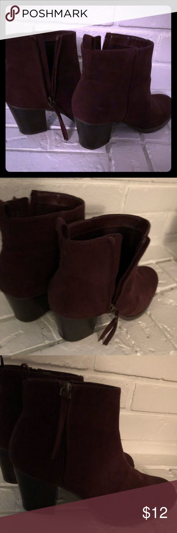 Burgundy Old Navy Ankle Boots Super cute burgundy suede zip-up ankle boots.  Boots worn once, as pic shows barely there wear No scuffs or marks in suede. Old Navy Shoes Espadrilles