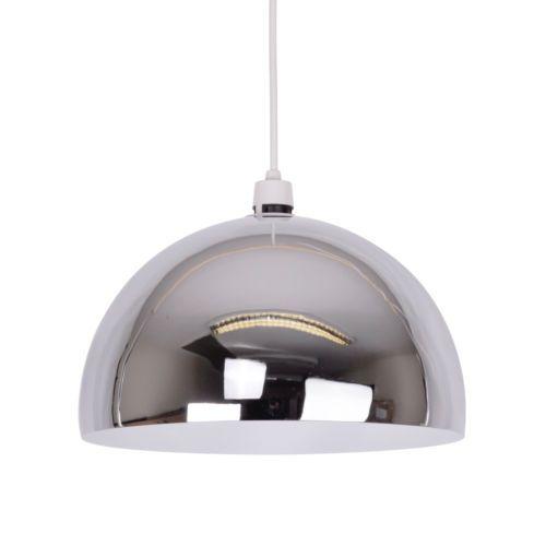 Large modern chrome retro metal dome ceiling pendant light lamp shade lampshade