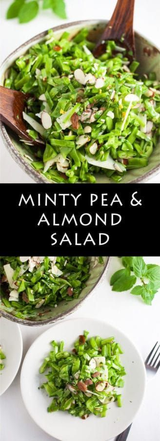 Minty Pea and Almond Salad | A healthy and flavorful minty pea summer salad topped with toasted almonds, Parmesan cheese, and lemon zest. Fresh and easy to make!