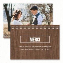"Wedding thank you card - ""Scandinavia"", wood - Paper and Love - www.paperandlove.be   //  Carton remerciements de mariage - ""Scandinavie"", bois - Paper and Love - www.paperandlove.be"