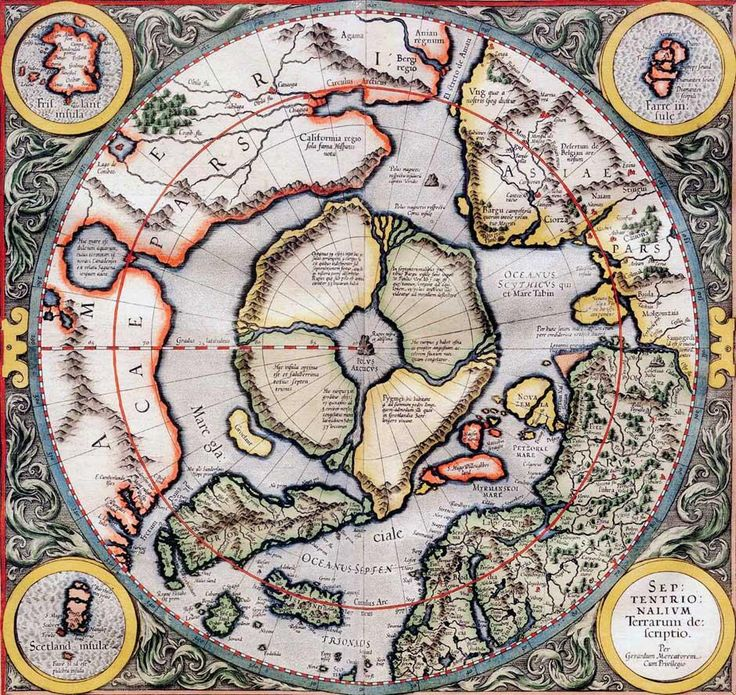 some historians localized Hyperborea in Greenland, near the Ural Mountains, on the Kola Peninsula, Karelia, on the Taimyr Peninsula - most likely Hyperborea was located on the now submerged island-continent of the Arctic Ocean - this latter location confirmed by the well-known map of Gerard Mercator, 1554, where it is clearly visible as a country surrounded by a ring of mountains, in the center of which stands the sacred mountain