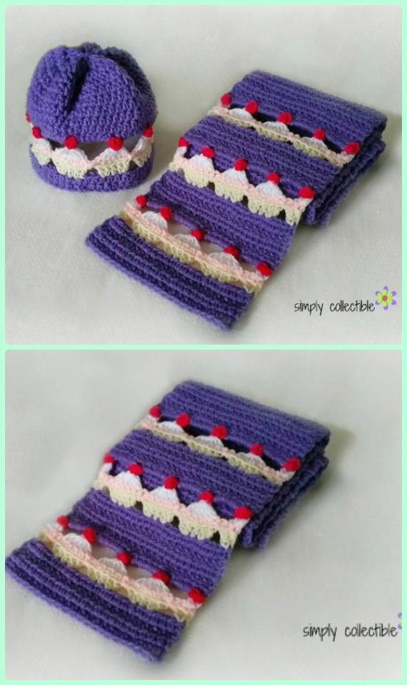 Crochet Cupcake Lovers Beanie and Scarf Set Free Pattern - Crochet Cupcake Stitch Free Pattern [Video]