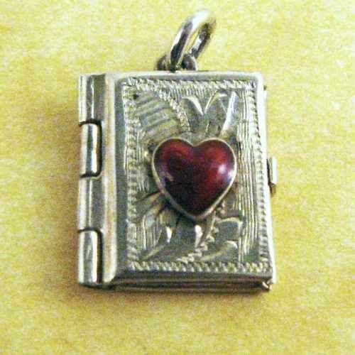RARE Vintage Austrian Silver Enamel Heart Engraved Locket Charm for Bracelet | eBay