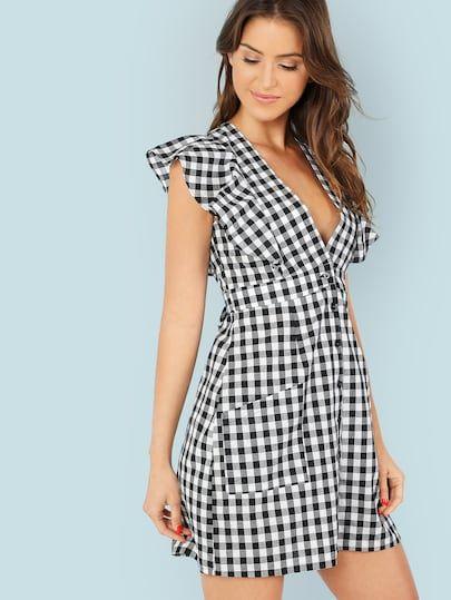 4ddd0843e8 Ruffle Trim Button Up Self Belted Plaid Dress -SheIn(Sheinside ...