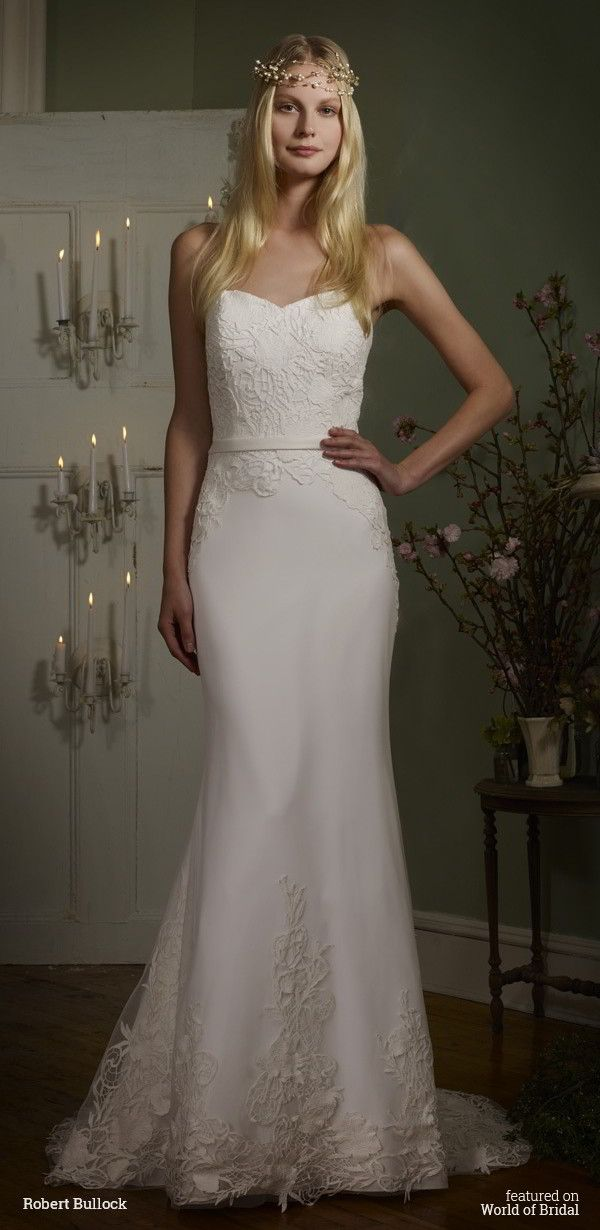 Strapless sweetheart Guipure Lace on English Net over Crepe mermaid gown and Satin waistband.