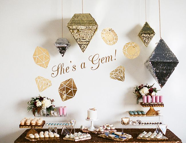 "The ""She's a Gem"" theme was incorporated into the Sweet and Saucy Shop  dessert spread"
