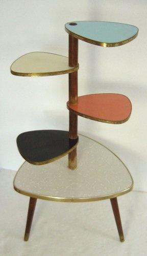 Stylish Atomic Age Eames Era Multicolour Plant Display Table