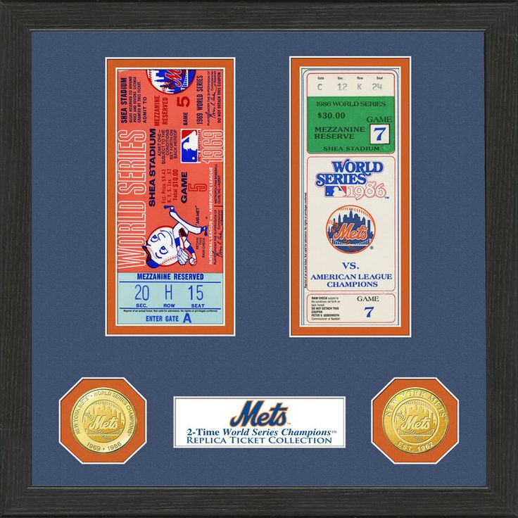 """New York Mets Highland Mint 13"""" x 13"""" World Series Ticket Collection"""