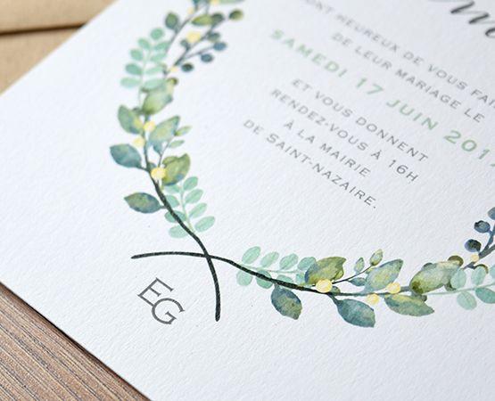 faire-part botanique mariage fleurs plantes aquarelle couronne chic