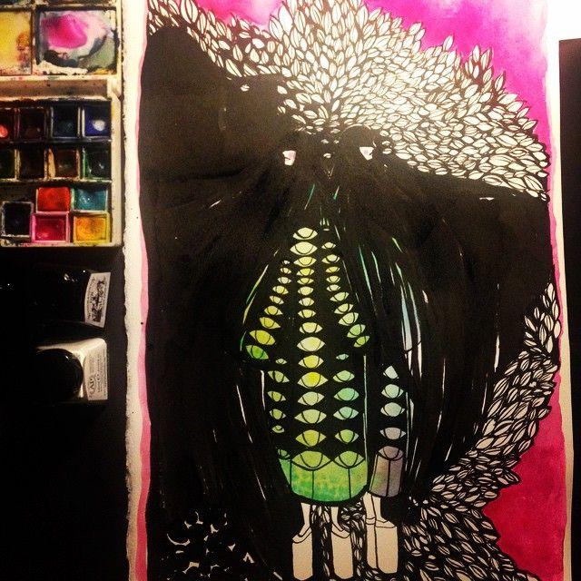 Oj! D blev ju helgalet detta! #illustration #instaart #ink #aquarelle #hair #idasondell #Bläcksvettochtårar #highheels #art #artforall