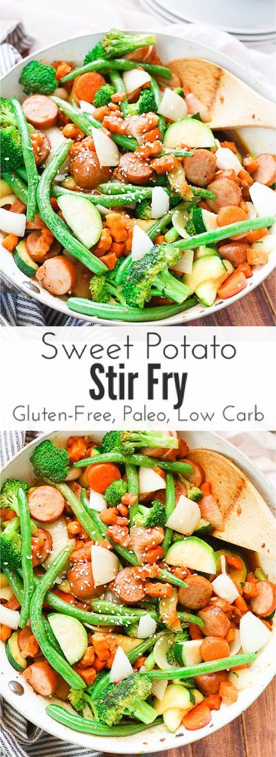 Sweet potato stir fry with chicken sausage slices are combined with fresh vegetables and a simple sweet and savory paleo stir fry sauce for one epically healthy 30 minute meal your family will ask for time and time again.  It's gluten free, paleo, and low carb too