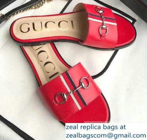fca6cef5b25 Gucci Horsebit and Sylvie Web Flat Slides Red 2019