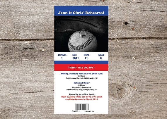 Baseball ticket invite. Perfect for sports wedding bridal shower or even a baby shower.