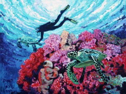 Playing with the Sea Turtles, 2015. Oil on canvas. By John Lautermilch