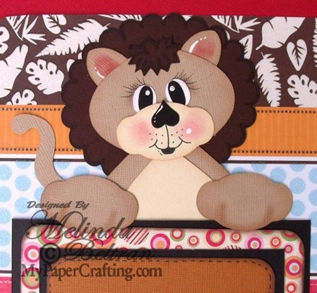 Cricut Paper Piecing Cartridge Critters Lion topper paper piecing. Created with the Artiste Cartridge. Direct Link: http://www.mypapercrafting.com/2013/01/artisteshowcase.html