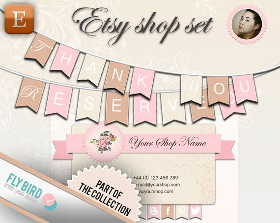 Etsy Shop Banner and business card Sunny by FlyBirdBranding, €8.00