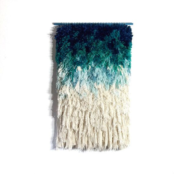 Furry mint dreams // Handwoven Tapestry Wall hanging by jujujust, on Etsy