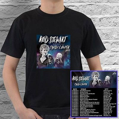 Rod Stewart + Cyndi Lauper US summer tour concert 2017 black tees; Tshirt 100% Cotton; Available Men's size S-3XL;