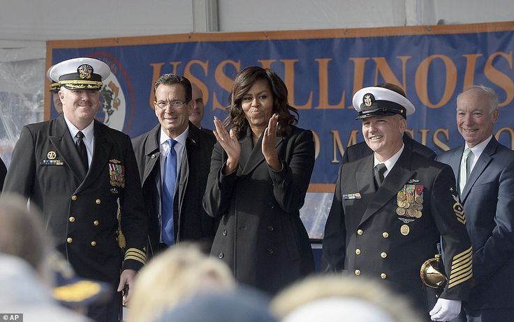 The USS Illinois was named for Obama's home state. She is pictured center with, from left, Commanding Officer  Porter,Connecticut Governor Dannel P Malloy,  Master Chief David DiPietro and Representative Joe Courtney