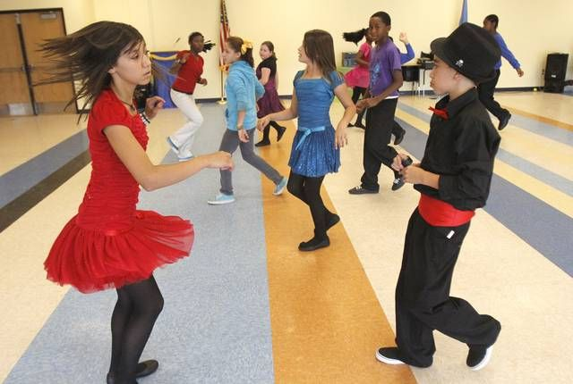 Ballroom dance class at Britton Elementary in Oklahoma City. Photo By Paul Hellstern