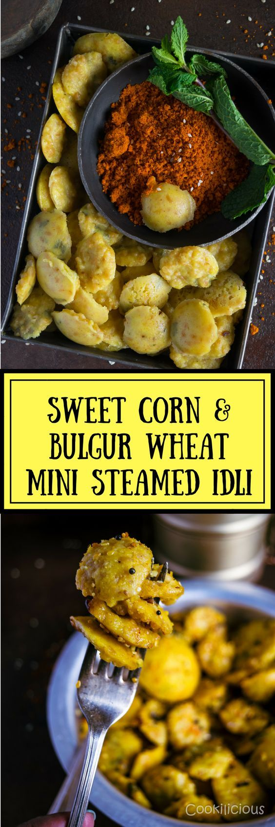 Sweet Corn & Bulgur Wheat Mini Steamed Cakes or idli is one nutritious breakfast recipe. It's a healthier fusion of Gujarati & South Indian cuisine. Dhokla batter made with daliya, sweet corn & semolina is used to make these delicious steamed idlis that can be served for breakfast or as a light snack.  via @cookiliciousveg