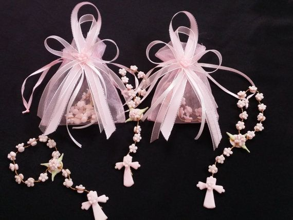 Mini Rosary Favors Girls Baptism Favor 20 Pink by PartyFavorsMiami