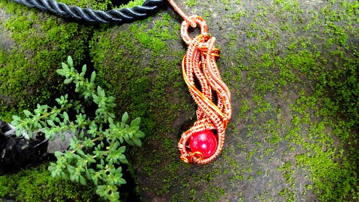 #wire_jewelry #stone_bead #copper_wire #pendant #pearl_beads