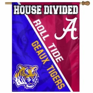 We need this... LOL...NCAA Alabama Vs. LSU 27 by 37-Inch House Divided Vertical Flag