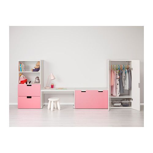 СТУВА Комбинация д/хранен со скамьей - белый/розовый - IKEA