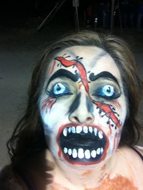 Some cool halloween makeup!!  via Sauvie Island Haunted Corn Maze « Bella Organic Farm