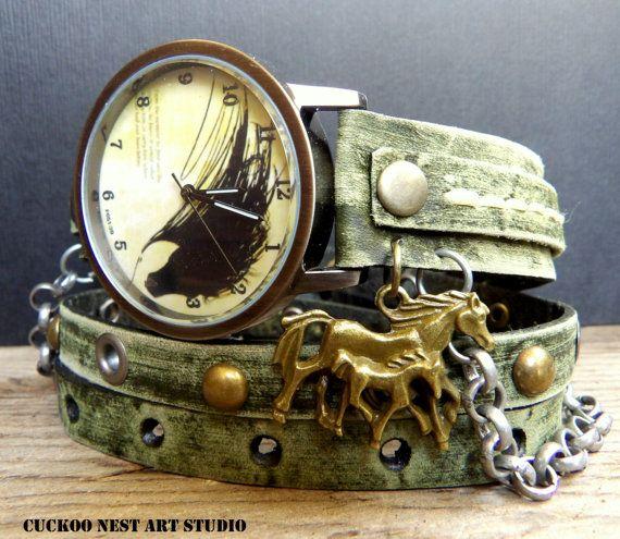 Horse Wrap Watch, Women's watch, Leather #accessories #watch @EtsyMktgTool #vintagewatch #wristwatch #braceletwatch #leatherwatch