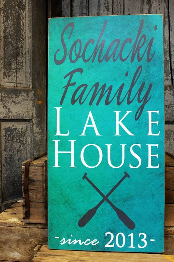 Lake House Sign with Boat Oar is