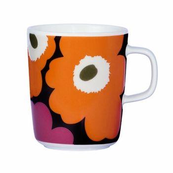 Wake up to a cheery mug of morning brew. Marimekko Unikko Fuchsia/Orange Mug -$20
