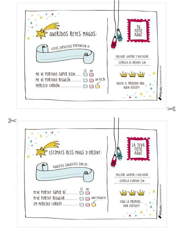 El año que viene sin confusión: Para que los Reyes no se despisten con tanto niño señala los zapatos con estas postales descargables tan ideales || postal reyes magos